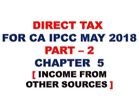 INCOME FROM OTHER SOURCES : DIRECT TAX : FOR CA IPCC MAY/NOV 2018 PART 17