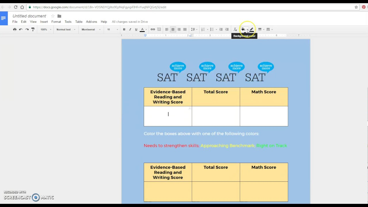 How to color in google docs - Change The Color Of A Table Cell In Google Docs