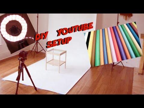 DIY YOUTUBE SETUP  diy backdrop & ringlight! CHEAP
