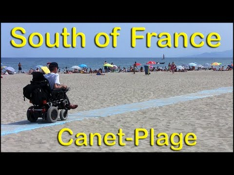 Wheelchair access ramps to Mediterranean beach in Canet Plage France
