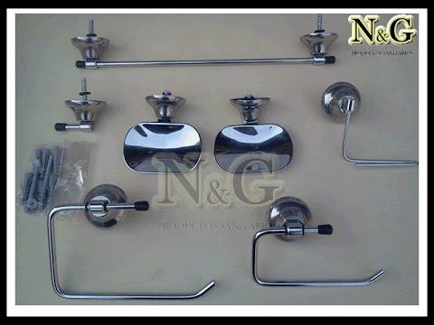 Kit set de accesorios para ba o 7 piezas cromado ng for Articulos de bano chile