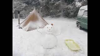 100年に一度の寒波で大雪が積もった若杉楽園キャンプ場です。 雪の中で...