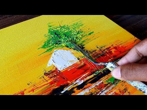 Easy Landscape Acrylic Painting Tutorial Abstract Painting Youtube
