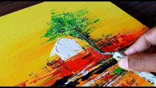 Easy Abstract Painting / Landscape / Relaxing / Demonstration in Acrylics/Project 365 days/Day #236