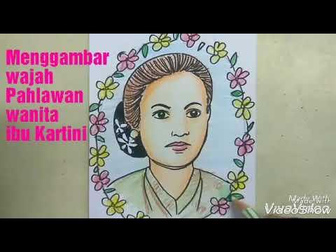 Menggambar wajah pahlawan Ibu Kartini cara anak SD   GAMPANG - YouTube