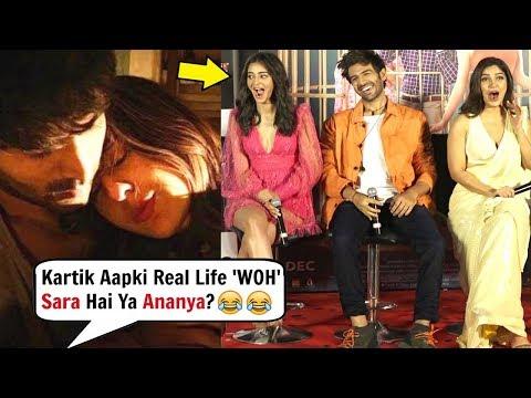 Ananya Pandey Reaction When Kartik Aryaan Asked About Sara Ali Khan Mp3