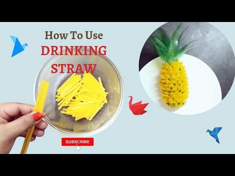 DIY Pineapple making using Drinking straw//Best out of waste//Art&Craft with PRATIMA