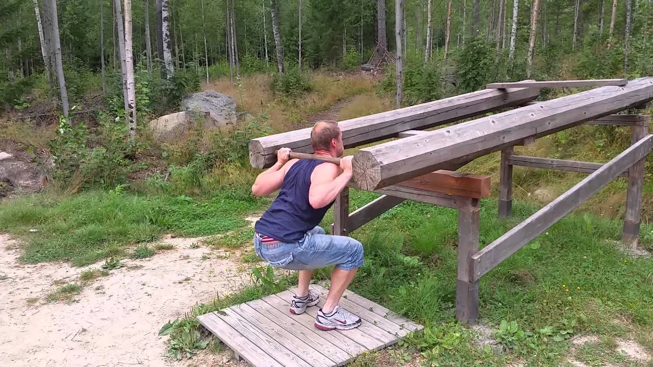 Squats outside at local outdoor gym - YouTube