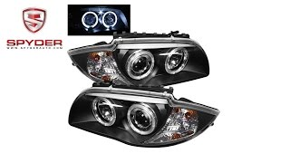 Spyder - BMW E87 1-Series 08-11 Projector Headlights - LED Halo - Black