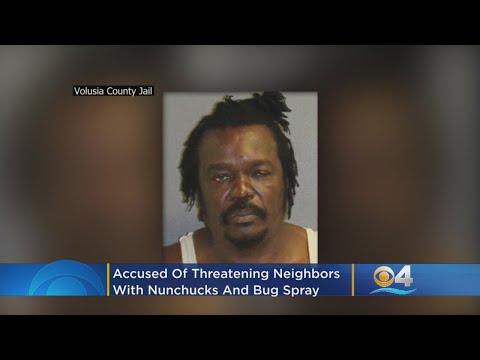 Crash & AJ - Guy Threatens Neighbors W/ Nunchucks, Accidentally Hits Himself in the Face