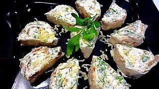 Лаваш с творогом, сыром и зеленью