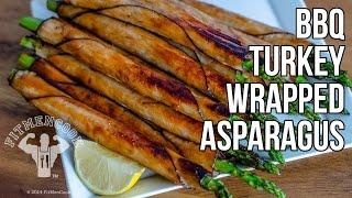 Hi-protein Snack: Bbq Turkey Wrapped Asparagus / Espárragos Envueltos En Pavo
