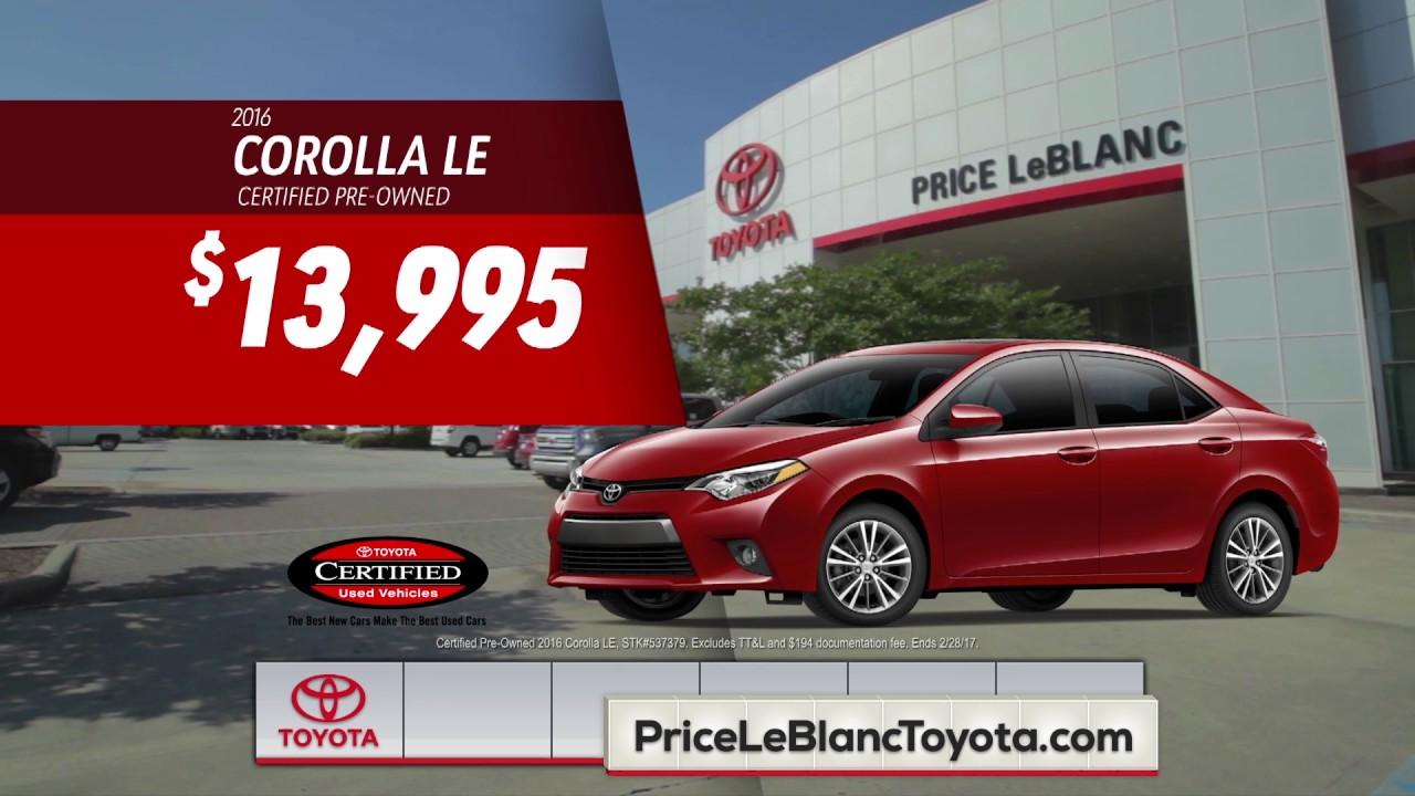 Price LeBlanc Toyota   #1 Again   Corolla Specials