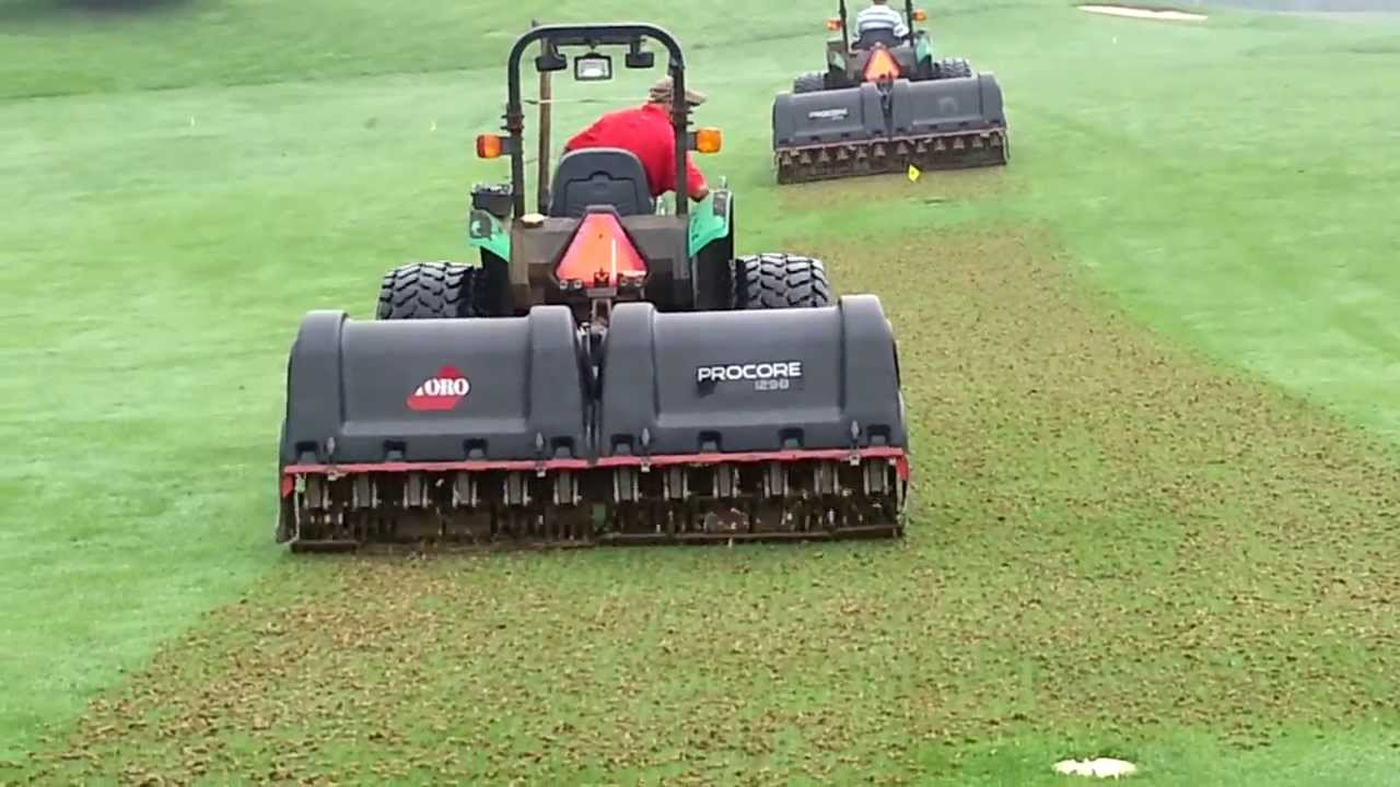 Golf Course Fairway Aeration With Pro Core 1298s Youtube