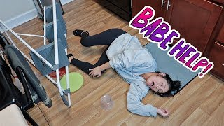 FALLING DOWN THE STAIRS WHILE PREGNANT PRANK! *HE FREAKS OUT*