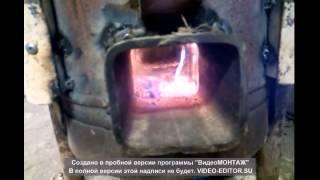 """Печь ракета шахтная(бункерная) """"Галаганка-2"""" часть-II (испытание на дровах)."""