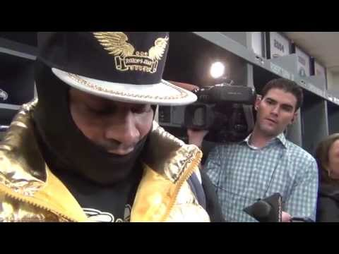 "Marshawn Lynch Panthers post game interview 1/10  ""I'm Thankful"""