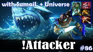 Attacker - Kunkka MID | with SumaiL (Spectre) + Universe (SB) | Dota 2 Pro MMR Gameplay #86
