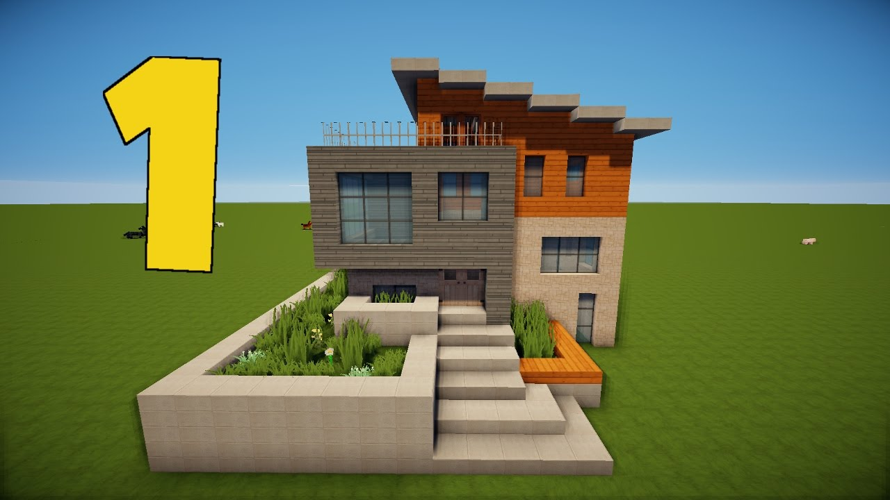 10 t r modernes minecraft mehrstock haus tutorial for Minecraft modernes haus tutorial