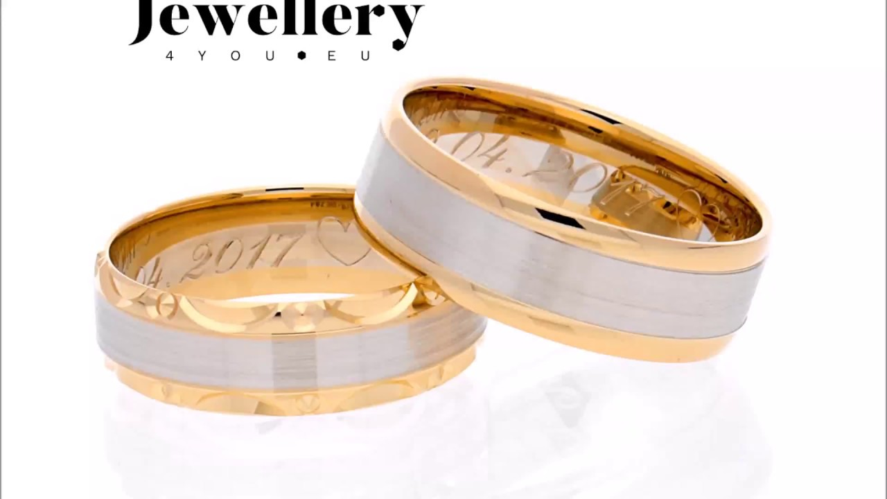 Bicolor gold wedding rings models 136  151  YouTube