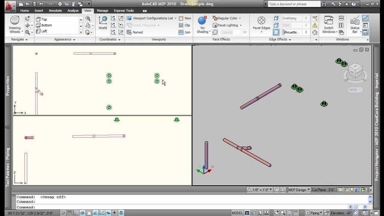 AutoCAD MEP 2010 Piping Basics  Video 1of2  YouTube