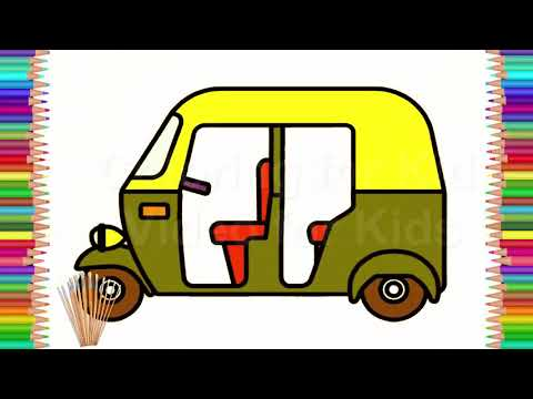 Kids Draw And Coloring With Auto Rickshaw Coloring For Kids
