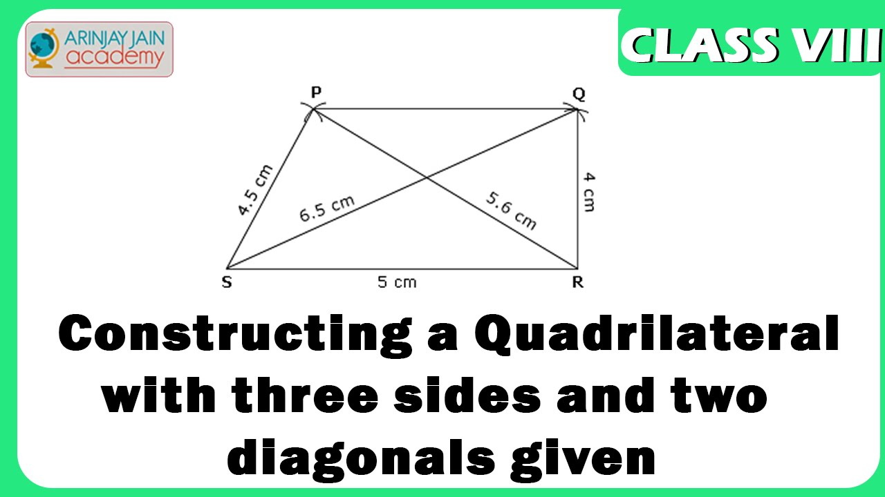 Quadrilateral construction with three sides and two diagonals given -  Geometry - Maths