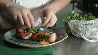 Chef Decorates Tasty Dish Stock Video