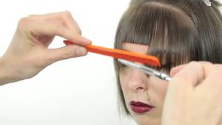 How to cut bob hair line with fringe.