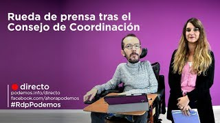 Rueda de prensa tras el Consejo de Coordinación de Podemos. 12-11-2018