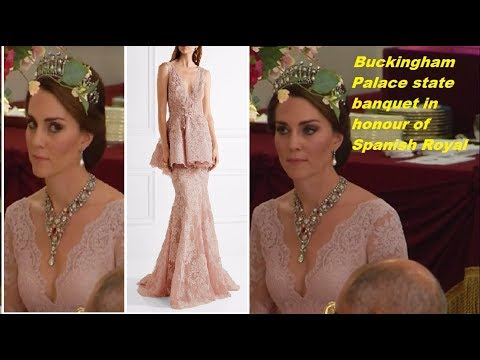 Kate Middleton & Princes William attend Buckingham Palace state banquet in honour of Spanish royals