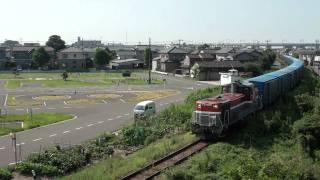 2010/08/23撮影 新潟貨物線 焼島駅に入線する紙返空ワム貨物6787レ列車で...
