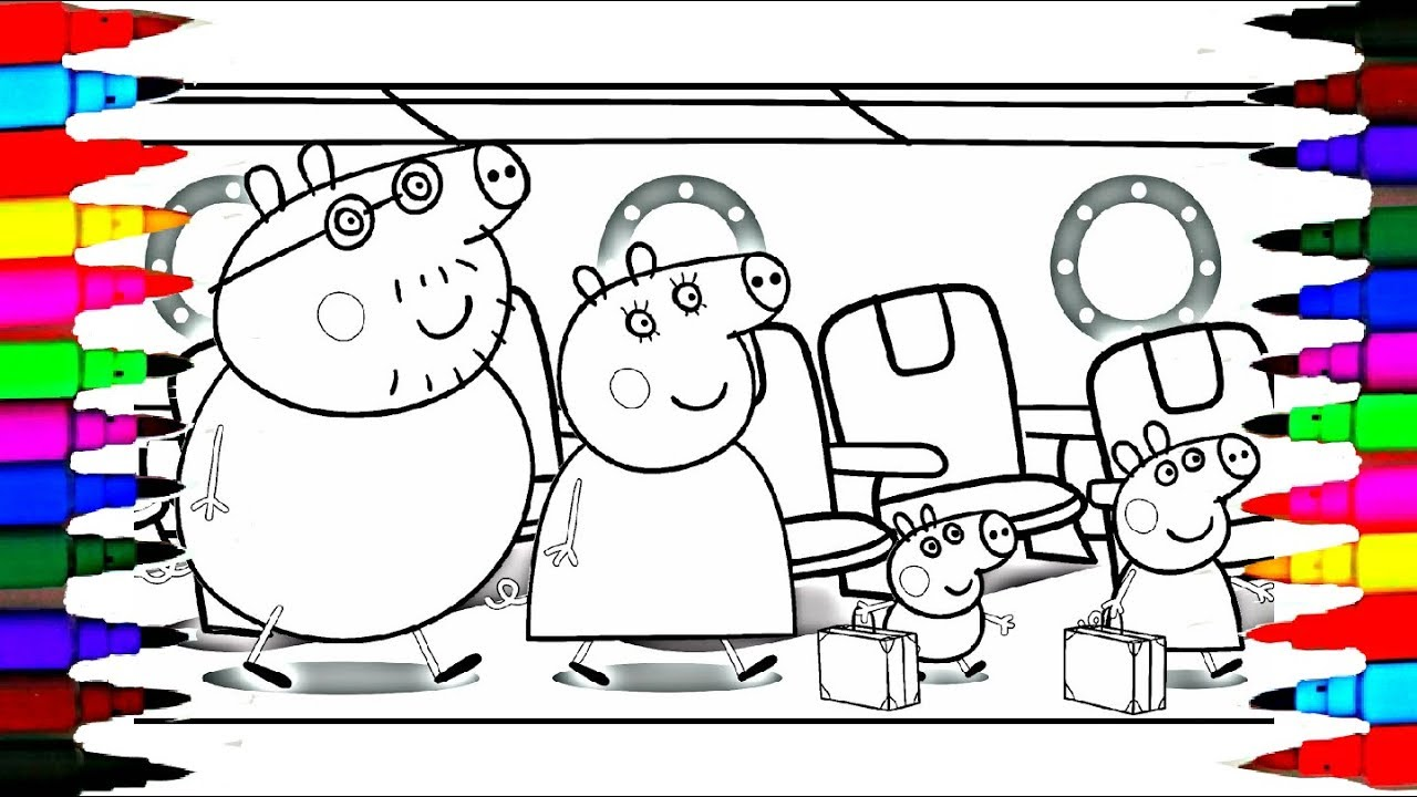 peppa pig family in the jetplane on holiday coloring pages l how