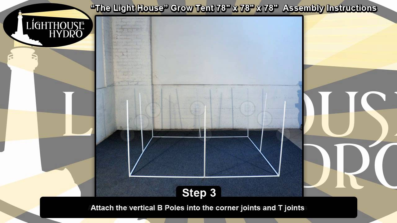 2013 Lighthouse Hydro Grow Tent - 6.5u0027 x 6.5u0027 x 6.5u0027 Assembly Instructions - YouTube & 2013 Lighthouse Hydro Grow Tent - 6.5u0027 x 6.5u0027 x 6.5u0027 Assembly ...