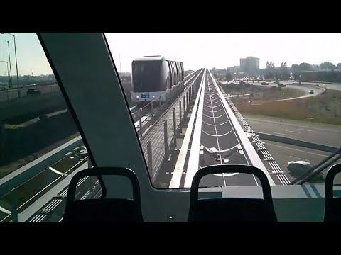 Full 9 minute train ride view - BART (Coliseum) to Oakland Airport through new train connector