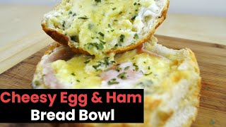 Stupidly Easy Cheesy Egg & Ham Bread Bowl