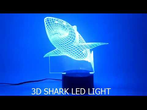 Amazing Shark Led Nigh Light In 7 Colors For Kids Room Or Decoration