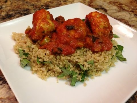 Turkey Meatball + Quinoa Recipe - HASfit Healthy Dinner Recipes - Baked Turkey Meatballs Recipe