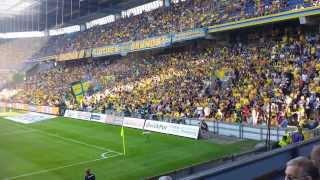 Yellow Blue Army på Sydsiden på Brøndby Stadion 04-08-13 (BIF vs EfB 0-2)