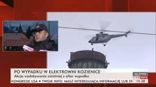 Trwa akcja wydobywania ostatniej ofiary wypadku w Kozienicach (TVP Info, 05.12.2013)