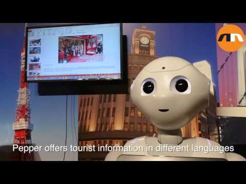 SoftBank demonstrates Pepper the robot for business