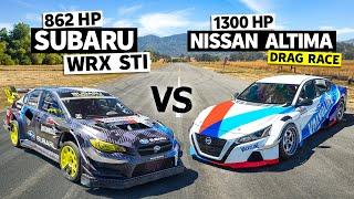 Travis Pastrana's 862hp Subaru STI vs. Chris Forsberg's 1,300hp GTR Powered Altima // Flying Finish