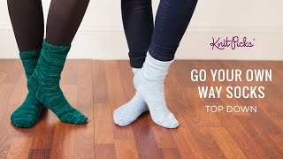 Go Your Own Way Socks Top Down - Full Class