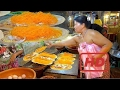 Ancient,. Huge Thai crispy Sweet Crepes Pancakes, Khanom bueang in Traditional Dress | Street  #KHR