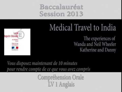 CO Anglais Bac 2013   Medical Travel to India