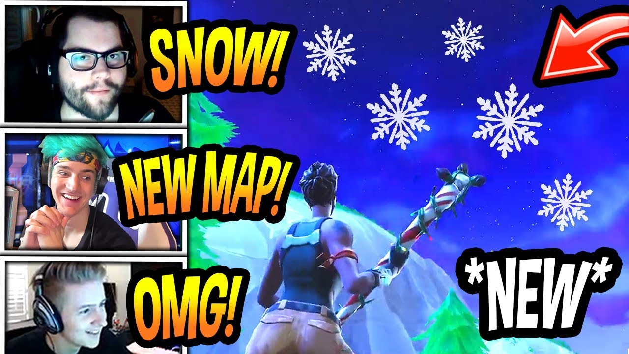 streamers-react-to-snowing-in-fortnite-season-7-snow-map-fortnite-funny-epic-moments