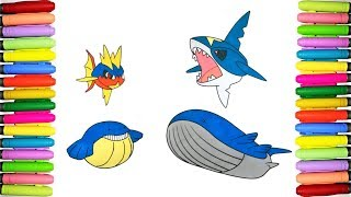 Pokemon coloring pages for kids - Carvanha, Sharpedo, Wailmer and Wailord