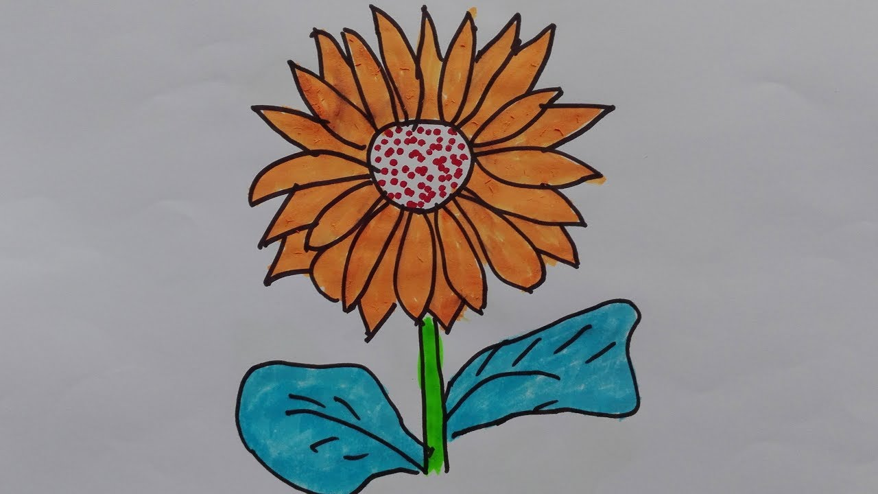 How to draw sunflower-sunflower drawing simple-sunflower ...
