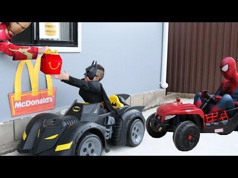 McDonalds Drive Thru Prank!! Batman Payback Time For Spiderman Ckn Toys