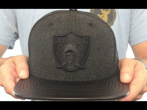 4ae34bca9d2 Raiders  THROWBACK LEATHER-MATCH SNAPBACK  Black Hat by New Era ...